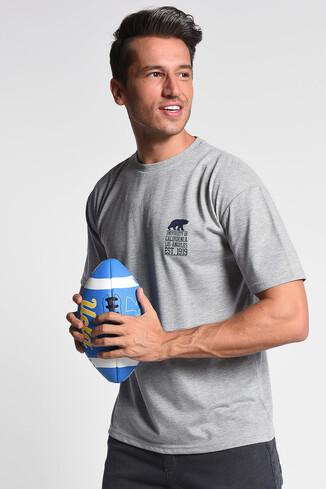 UCLA - DIXON Gri Bisiklet Yaka Oversize Erkek Tshirt