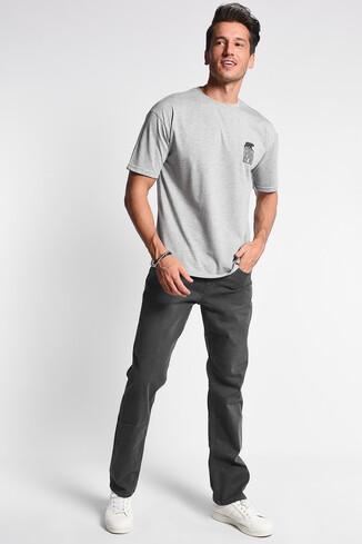 UCLA - DIXON Gri Bisiklet Yaka Oversize Erkek Tshirt (1)
