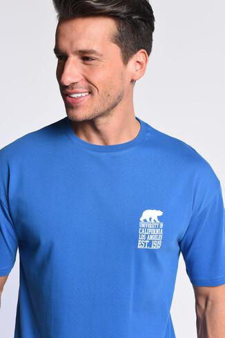 UCLA - DIXON Mavi Bisiklet Yaka Oversize Erkek Tshirt (1)