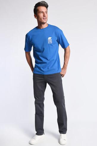 DIXON Mavi Bisiklet Yaka Oversize Erkek Tshirt - Thumbnail (3)