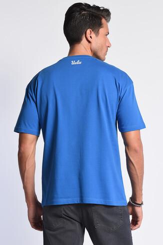 DIXON Mavi Bisiklet Yaka Oversize Erkek Tshirt - Thumbnail (4)