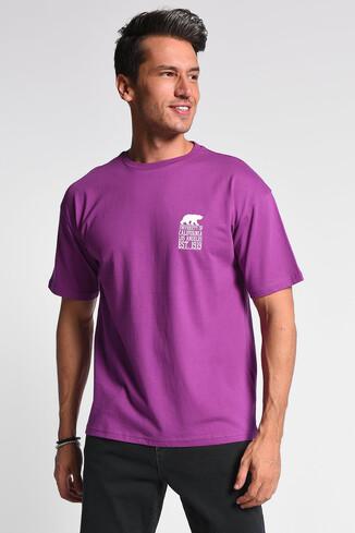UCLA - DIXON Mor Bisiklet Yaka Oversize Erkek Tshirt