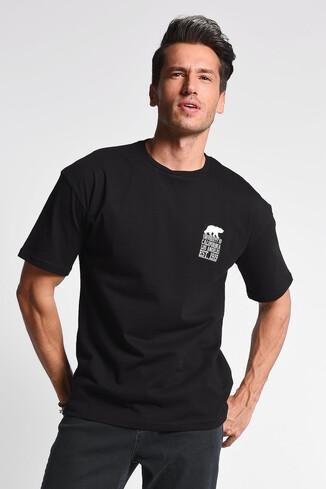 UCLA - DIXON Siyah Bisiklet Yaka Oversize Erkek Tshirt