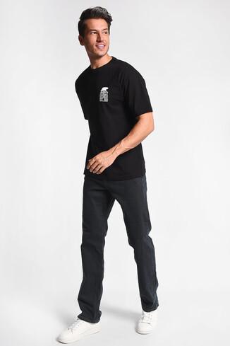 UCLA - DIXON Siyah Bisiklet Yaka Oversize Erkek Tshirt (1)