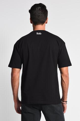 DIXON Siyah Bisiklet Yaka Oversize Erkek Tshirt - Thumbnail (4)