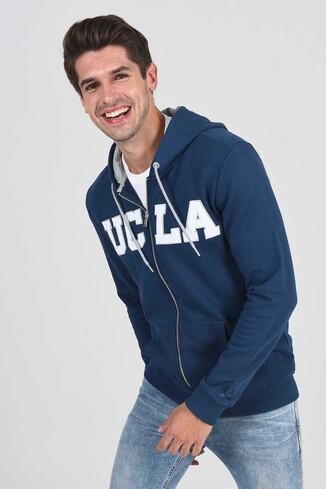 UCLA - DORIS Lacivert Kapüşonlu ve Fermuarlı Erkek Sweatshirt