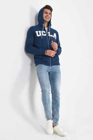 UCLA - DORIS Lacivert Kapüşonlu ve Fermuarlı Erkek Sweatshirt (1)