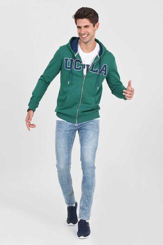 UCLA - DORIS Yeşil Kapüşonlu ve Fermuarlı Erkek Sweatshirt