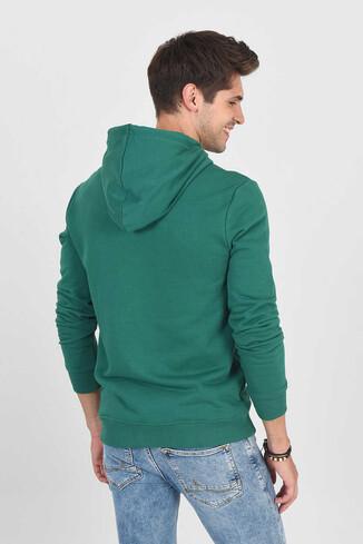 DORIS Yeşil Kapüşonlu ve Fermuarlı Erkek Sweatshirt - Thumbnail (4)