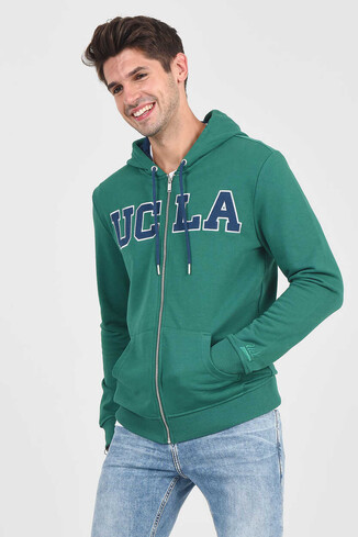 DORIS Yeşil Kapüşonlu ve Fermuarlı Erkek Sweatshirt - Thumbnail (5)