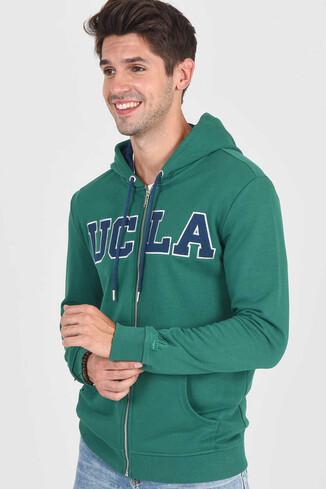 UCLA - DORIS Yeşil Kapüşonlu ve Fermuarlı Erkek Sweatshirt (1)