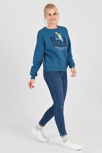 UCLA - GABRIEL Mavi Oversize Bisiklet Yaka Baskılı Kadın Sweatshirt