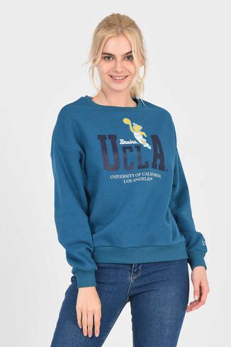 UCLA - GABRIEL Mavi Oversize Bisiklet Yaka Baskılı Kadın Sweatshirt (1)
