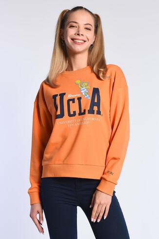 UCLA - GABRIEL Turuncu Oversize Bisiklet Yaka Baskılı Kadın Sweatshirt