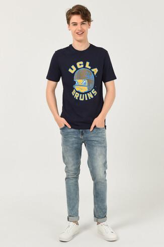 GALT Lacivert Bisiklet Yaka Baskılı Erkek T-shirt - Thumbnail (2)
