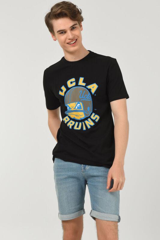 GALT Siyah Bisiklet Yaka Baskılı Erkek T-shirt - Thumbnail