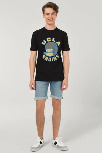 GALT Siyah Bisiklet Yaka Baskılı Erkek T-shirt - Thumbnail (2)