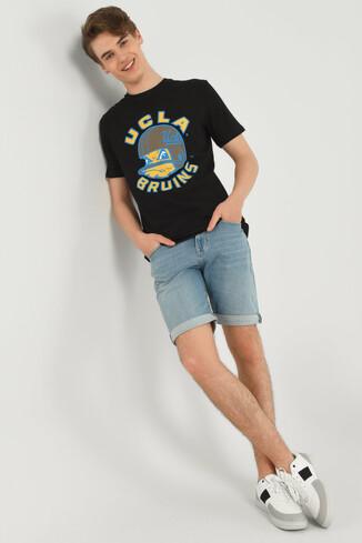 GALT Siyah Bisiklet Yaka Baskılı Erkek T-shirt - Thumbnail (4)
