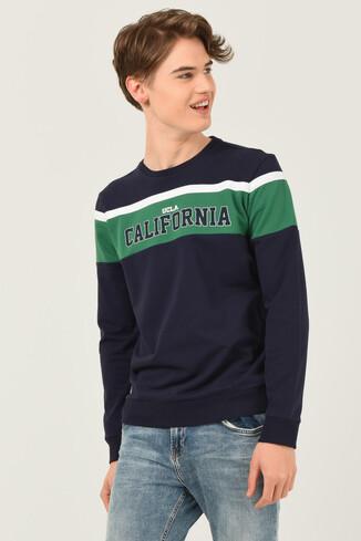 UCLA - GARDENA Lacivert Bisiklet Yaka Baskılı Erkek Sweatshirt