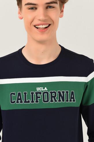 UCLA - GARDENA Lacivert Bisiklet Yaka Baskılı Erkek Sweatshirt (1)