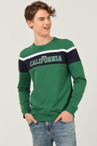 UCLA - GARDENA Yeşil Bisiklet Yaka Baskılı Erkek Sweatshirt