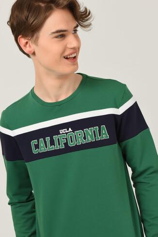 UCLA - GARDENA Yeşil Bisiklet Yaka Baskılı Erkek Sweatshirt (1)