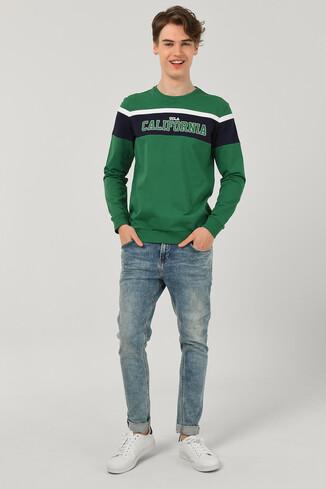 GARDENA Yeşil Bisiklet Yaka Baskılı Erkek Sweatshirt - Thumbnail (2)
