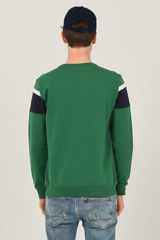 GARDENA Yeşil Bisiklet Yaka Baskılı Erkek Sweatshirt - Thumbnail (3)