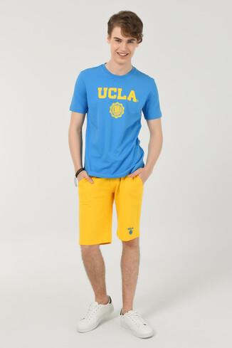GAYLEY Mavi Bisiklet Yaka Erkek T-shirt - Thumbnail (2)