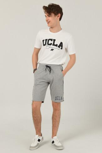 UCLA - GOLETA Gri Aplikeli Jakarlı Erkek Örme Şort