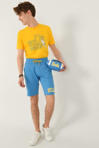 UCLA - GOLETA Mavi Aplikeli Jakarlı Erkek Örme Şort