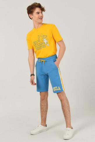 UCLA - GOLETA Mavi Aplikeli Jakarlı Erkek Örme Şort (1)
