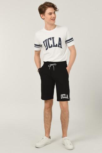 UCLA - GOLETA Siyah Aplikeli Jakarlı Erkek Örme Şort