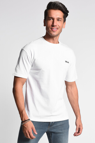 UCLA - GROVE Beyaz Bisiklet Yaka Oversize Erkek Tshirt