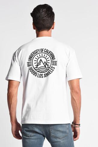 UCLA - GROVE Beyaz Bisiklet Yaka Oversize Erkek Tshirt (1)
