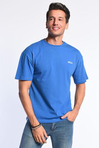 UCLA - GROVE Mavi Bisiklet Yaka Oversize Erkek Tshirt