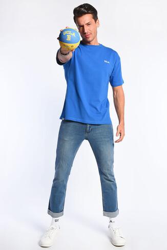 GROVE Mavi Bisiklet Yaka Oversize Erkek Tshirt - Thumbnail (2)