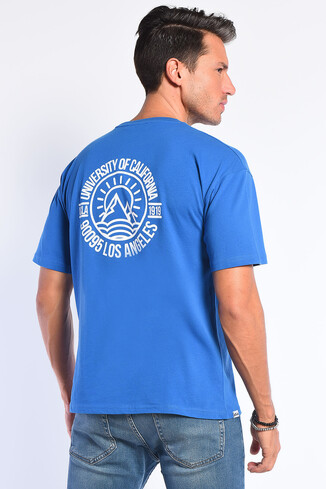 UCLA - GROVE Mavi Bisiklet Yaka Oversize Erkek Tshirt (1)