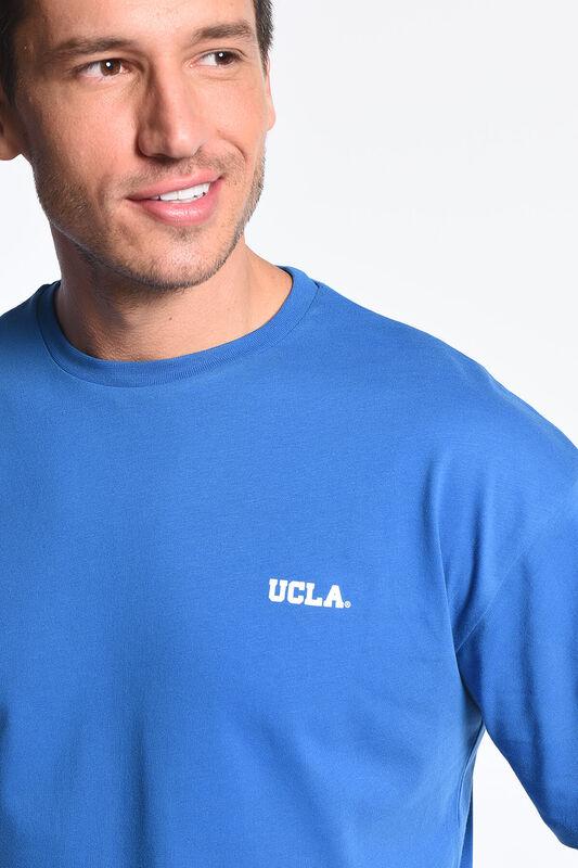 GROVE Mavi Bisiklet Yaka Arkası Baskılı Oversize Erkek Tshirt - Thumbnail