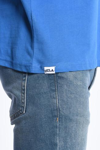 GROVE Mavi Bisiklet Yaka Oversize Erkek Tshirt - Thumbnail (4)