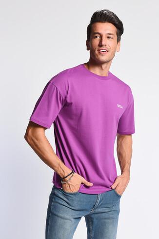 UCLA - GROVE Mor Bisiklet Yaka Oversize Erkek Tshirt