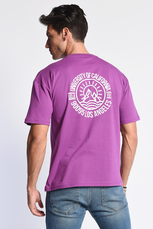 GROVE Mor Bisiklet Yaka Arkası Baskılı Oversize Erkek Tshirt - Thumbnail