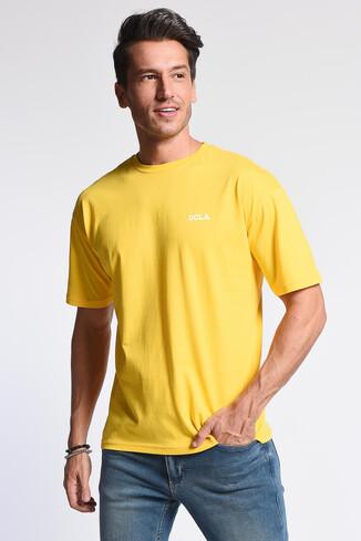 UCLA - GROVE Sarı Bisiklet Yaka Arkası Baskılı Oversize Erkek Tshirt