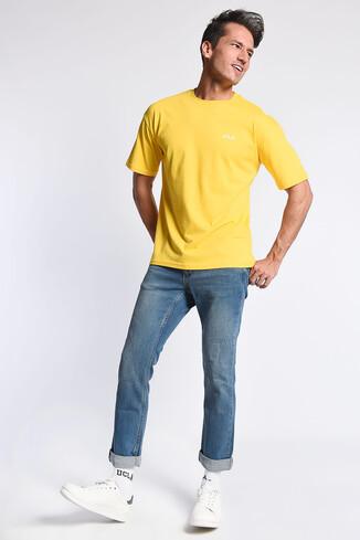 GROVE Sarı Bisiklet Yaka Arkası Baskılı Oversize Erkek Tshirt - Thumbnail (2)