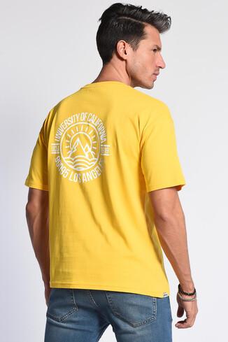 UCLA - GROVE Sarı Bisiklet Yaka Arkası Baskılı Oversize Erkek Tshirt (1)