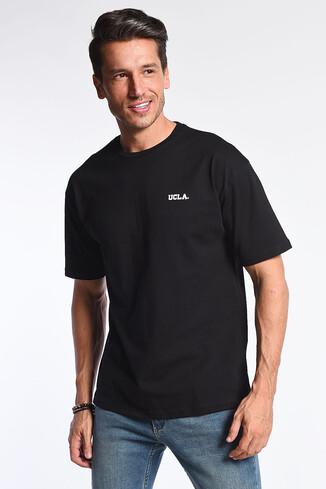UCLA - GROVE Siyah Bisiklet Yaka Oversize Erkek Tshirt