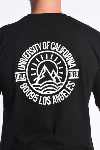 UCLA - GROVE Siyah Bisiklet Yaka Oversize Erkek Tshirt (1)