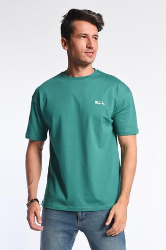 UCLA - GROVE Yeşil Bisiklet Yaka Oversize Erkek Tshirt