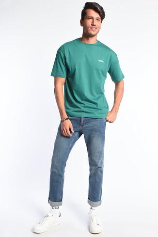 GROVE Yeşil Bisiklet Yaka Oversize Erkek Tshirt - Thumbnail (2)