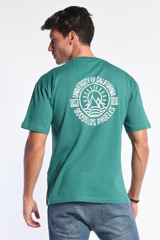 GROVE Yeşil Bisiklet Yaka Oversize Erkek Tshirt - Thumbnail (3)